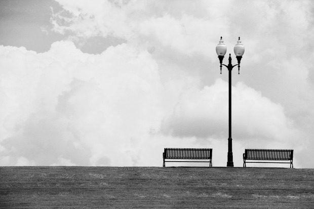 Empty Bench and Lamp post