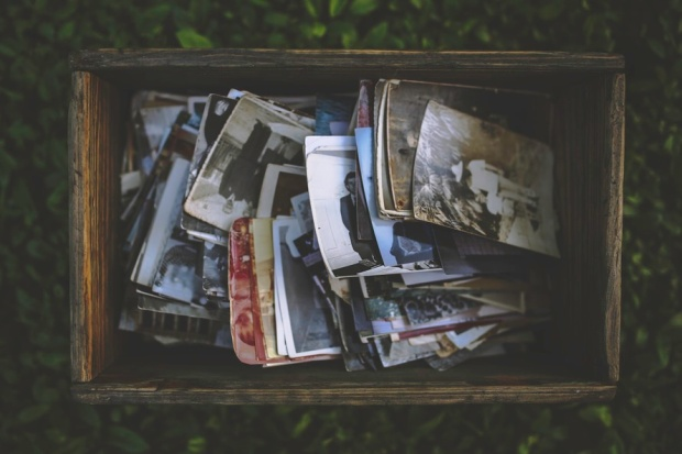Vintage photos in a box